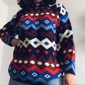 vintage colorful geometric oversized sweater